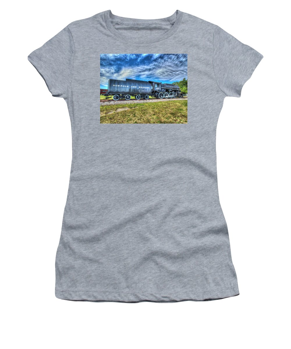 Historic Women's T-Shirt (Athletic Fit) featuring the photograph Norfolk And Western Steam Locomotive No 606 by Greg Hager
