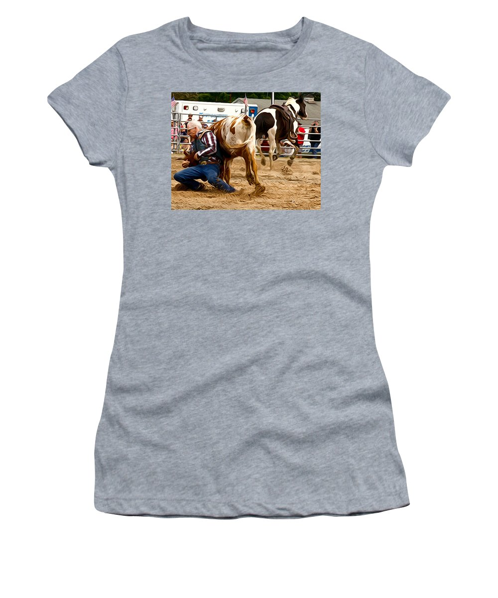 Steer Wrestler Women's T-Shirt featuring the photograph Now For The Roll by Alice Gipson