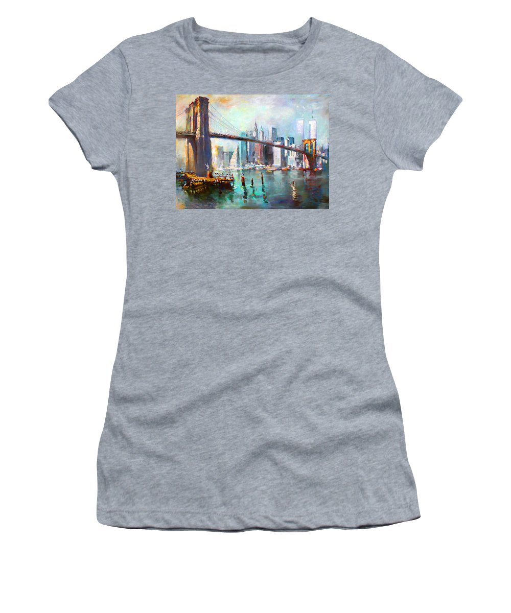 Nyc Women's T-Shirt (Athletic Fit) featuring the painting Ny City Brooklyn Bridge II by Ylli Haruni