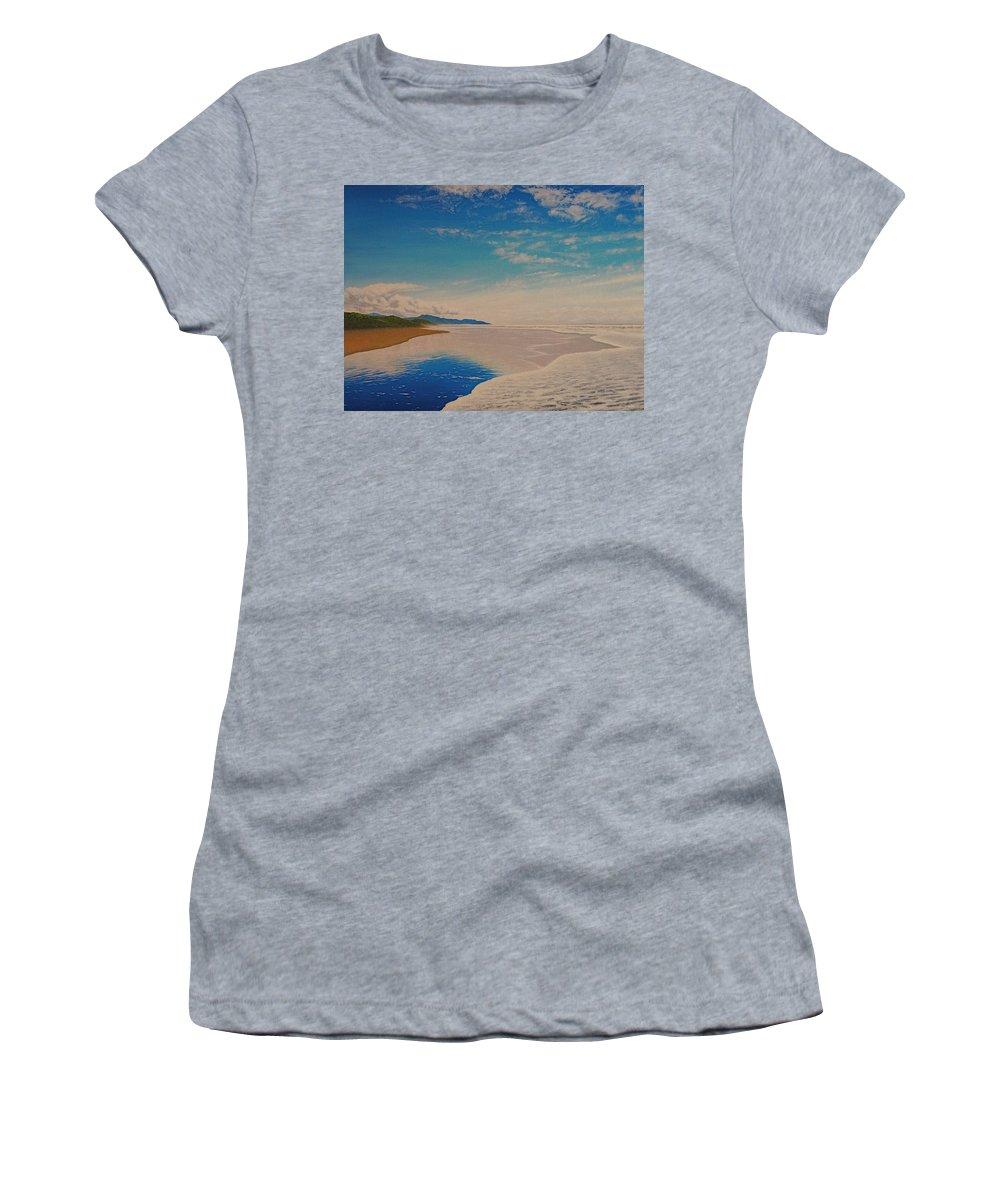 Mountain Women's T-Shirt featuring the painting Ocean Beach by Karma Moffett