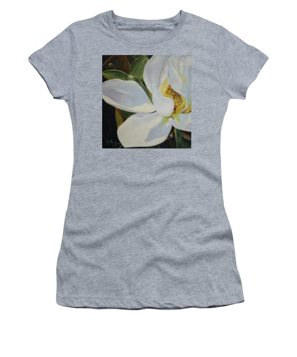 Roena King Women's T-Shirt (Athletic Fit) featuring the painting Oil Painting - Sydney's Magnolia by Roena King