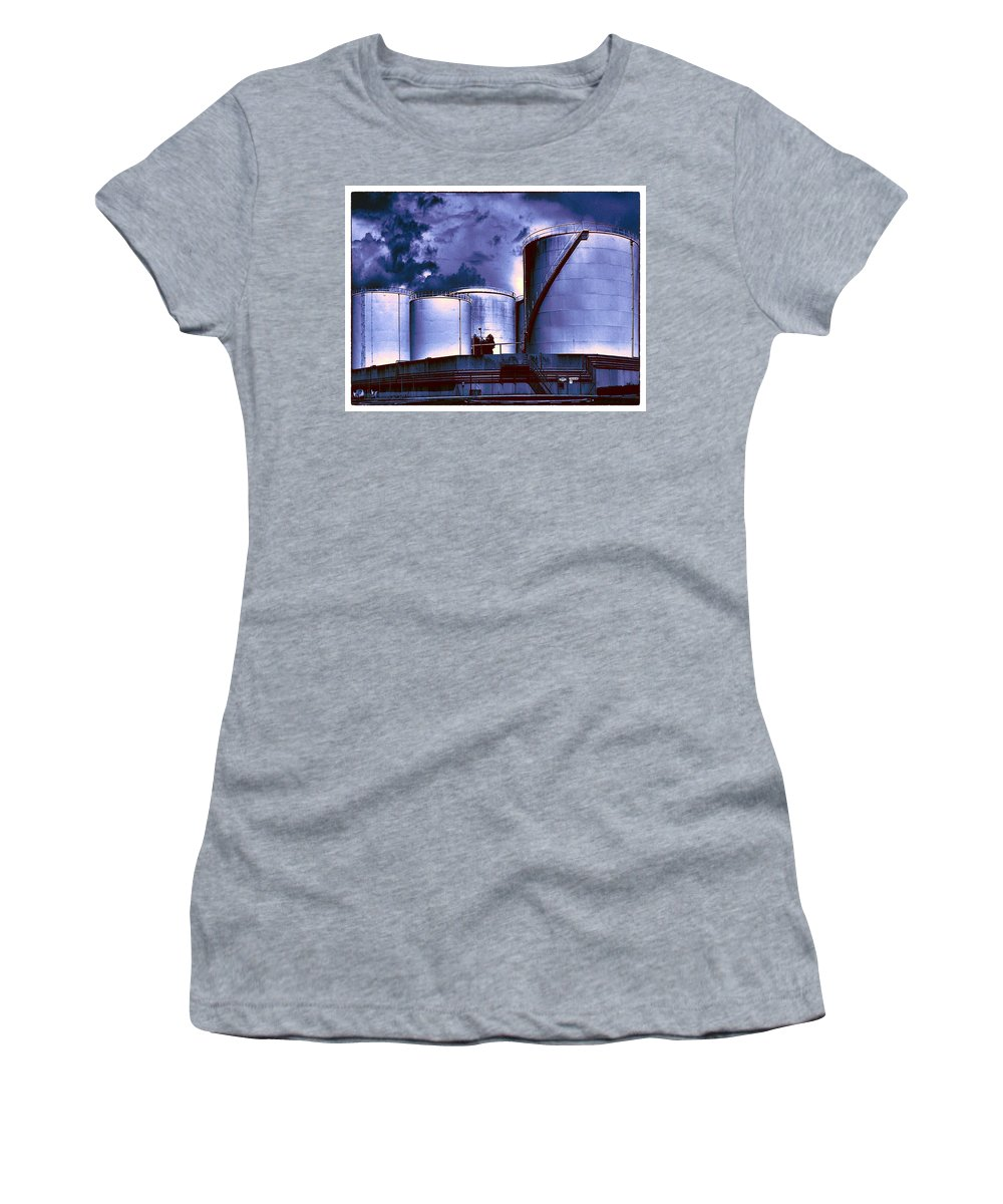 Oil Tanks Women's T-Shirt (Athletic Fit) featuring the photograph Oil Storage Tanks 2 by Dominic Piperata