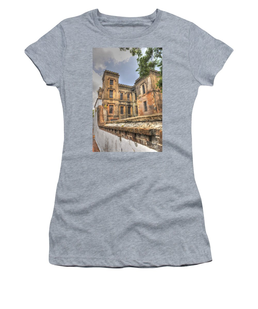 Old City Jail Women's T-Shirt (Athletic Fit) featuring the photograph Charleston City Jail by Dale Powell