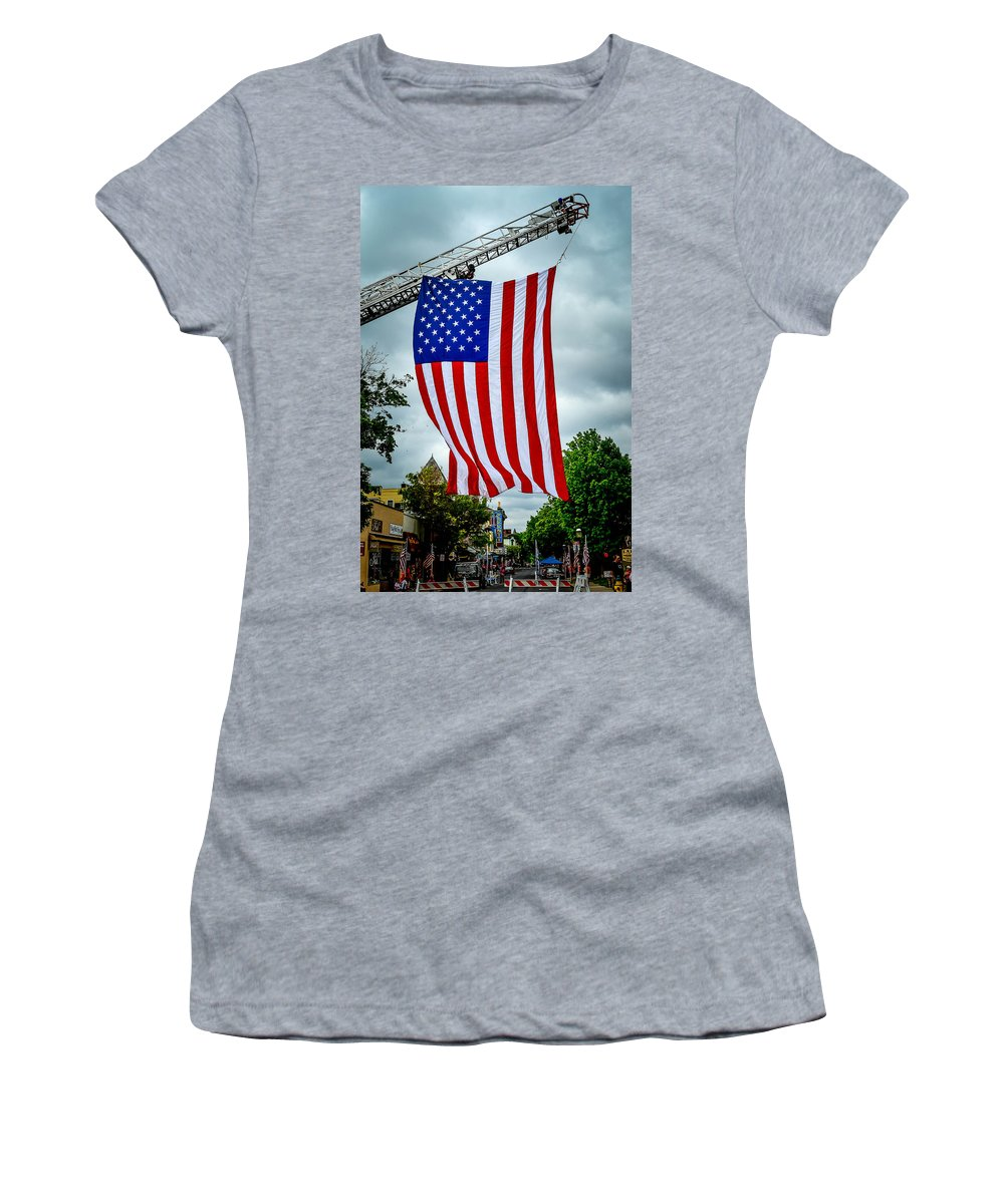 Doylestown Women's T-Shirt featuring the photograph Old Glory Over Doylestown by Michael Brooks