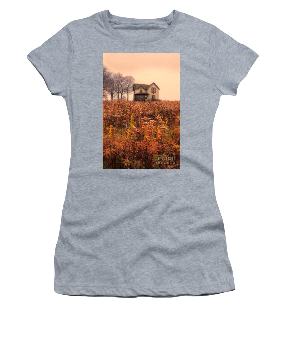 House Women's T-Shirt featuring the photograph Old House In Weeds by Jill Battaglia