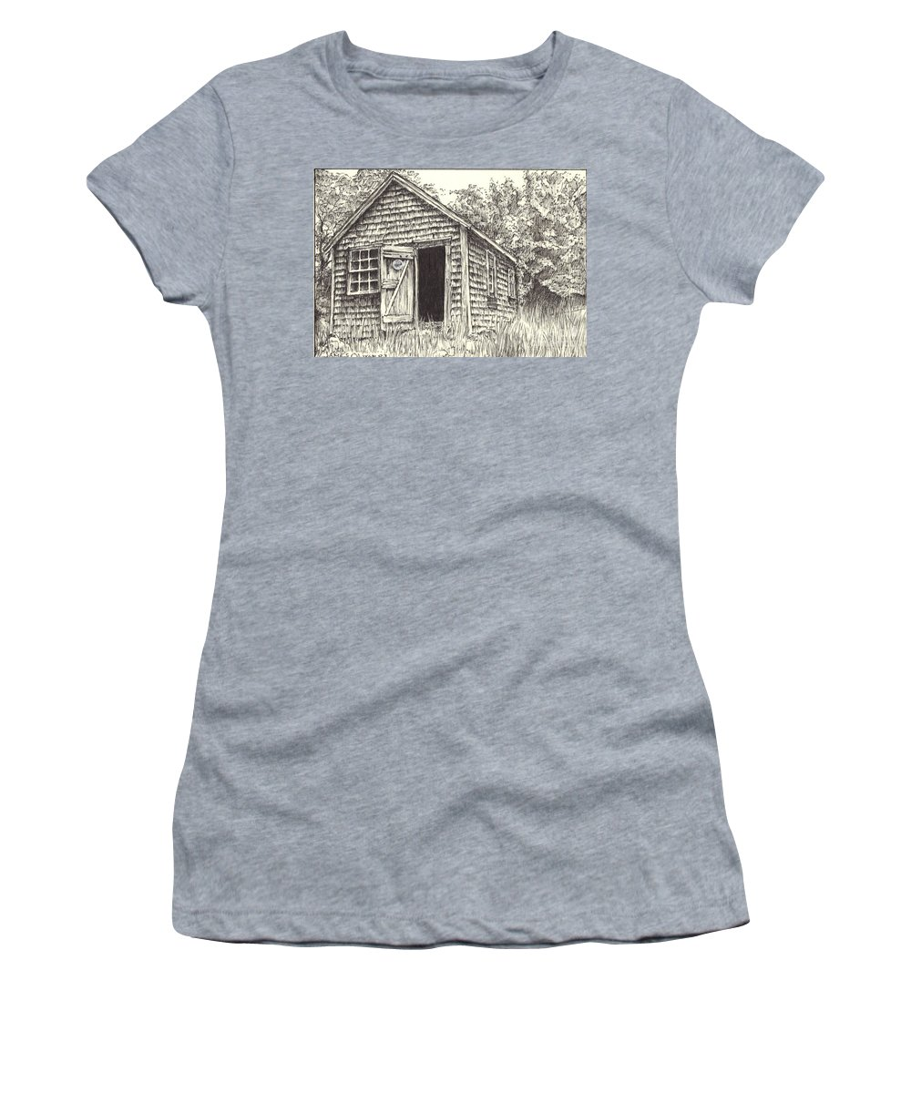 Lanes Cove Women's T-Shirt (Athletic Fit) featuring the drawing Old Lanes Cove Fishing Shack by James Oliver