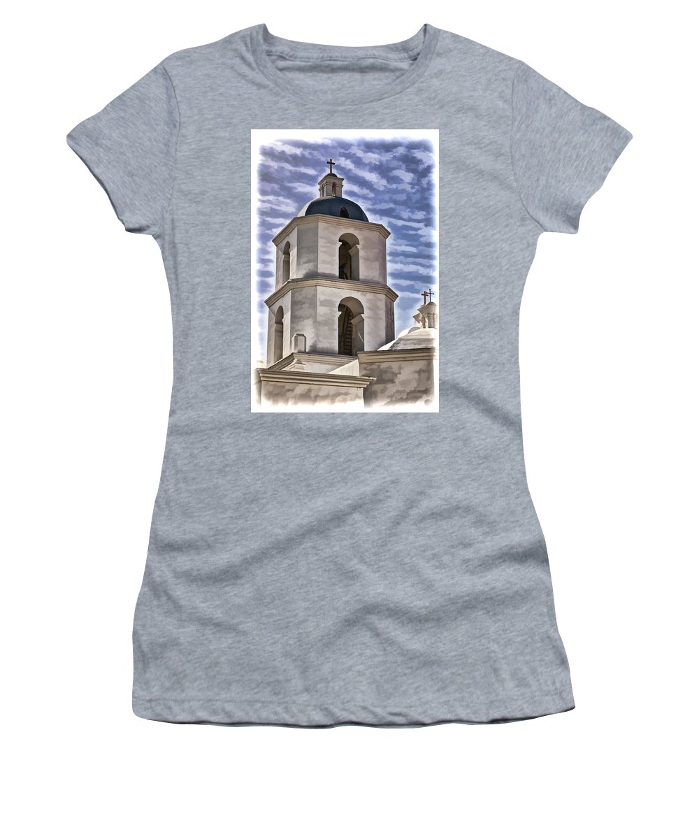 Mission San Luis Rey California Women's T-Shirt featuring the photograph Old Mission San Luis Rey Tower - California by Jon Berghoff