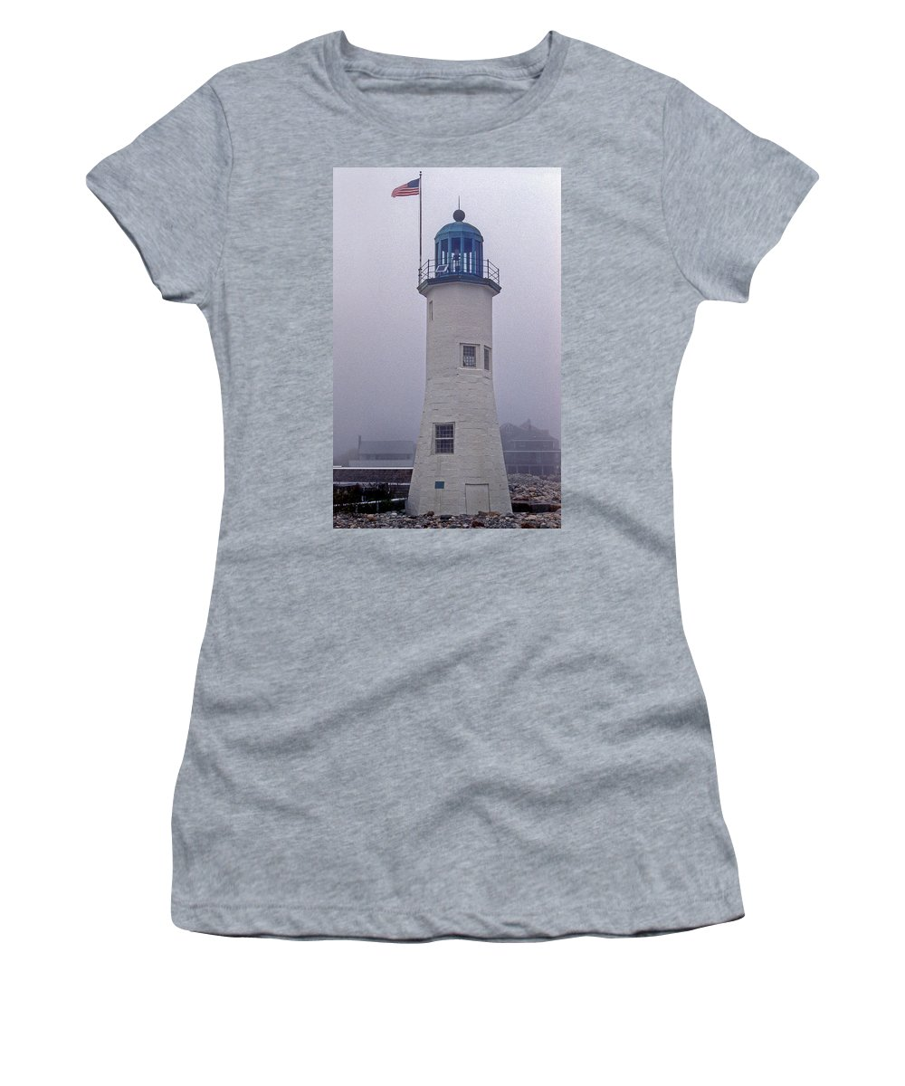 Scituate Women's T-Shirt featuring the photograph Old Scituate Light Tower by Skip Willits