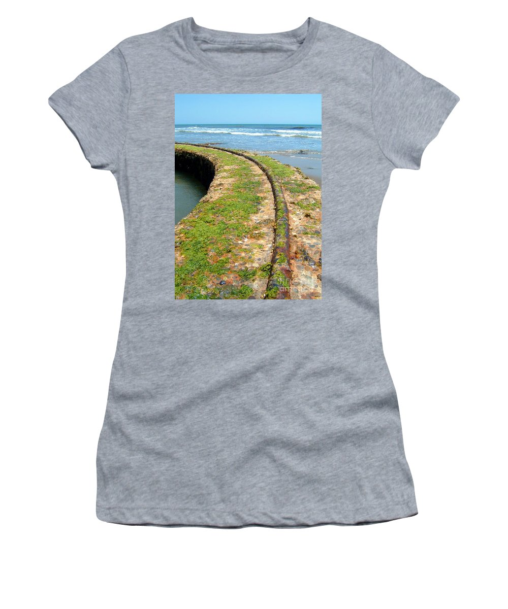 Track Women's T-Shirt (Athletic Fit) featuring the photograph Old Tracks By The Ocean by Henrik Lehnerer