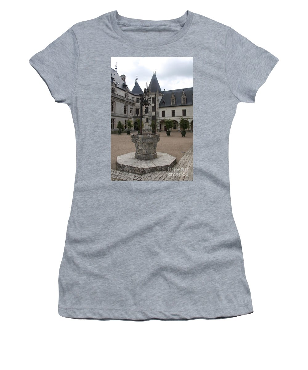 Palace Women's T-Shirt (Athletic Fit) featuring the photograph Old Well And Courtyard Chateau Chaumont by Christiane Schulze Art And Photography