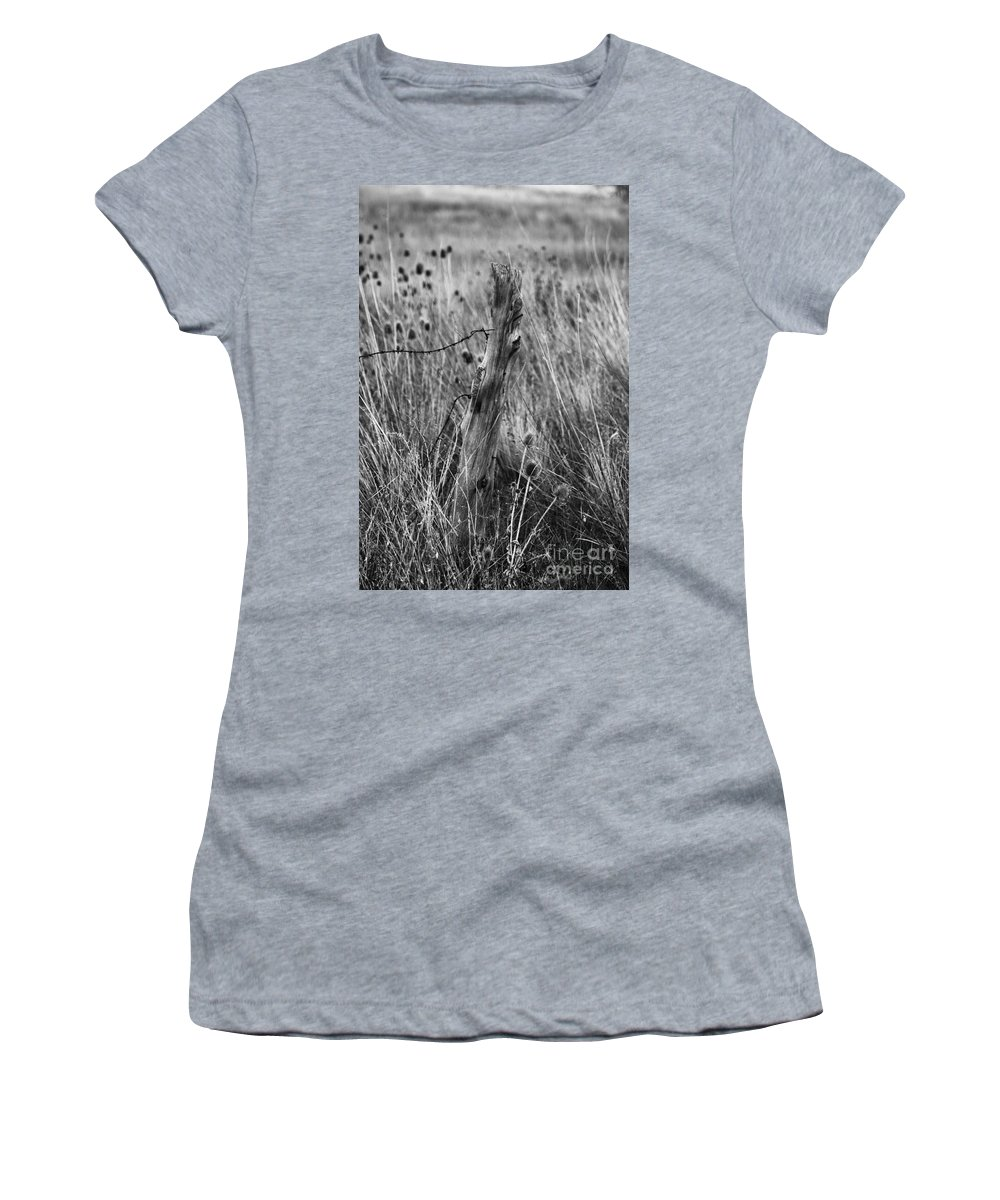 Photography Women's T-Shirt featuring the photograph Old Wooden Fence Post In A Field by Jackie Farnsworth