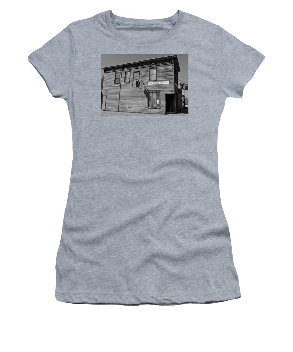 Black And White Women's T-Shirt featuring the photograph Oldest Drug Store 1 by Denise Mazzocco