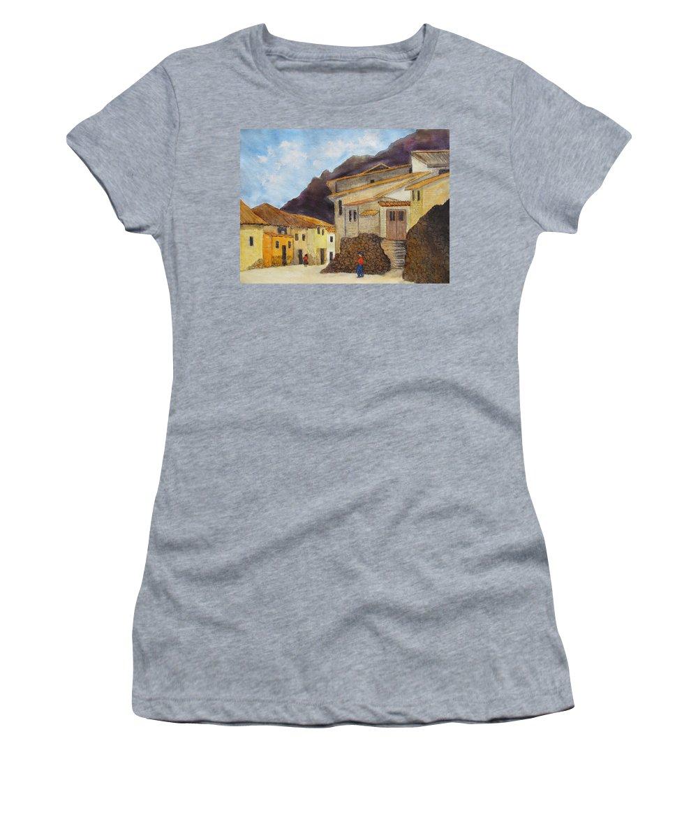 Ollantaytambo Women's T-Shirt featuring the painting Ollantaytambo by Patricia Beebe