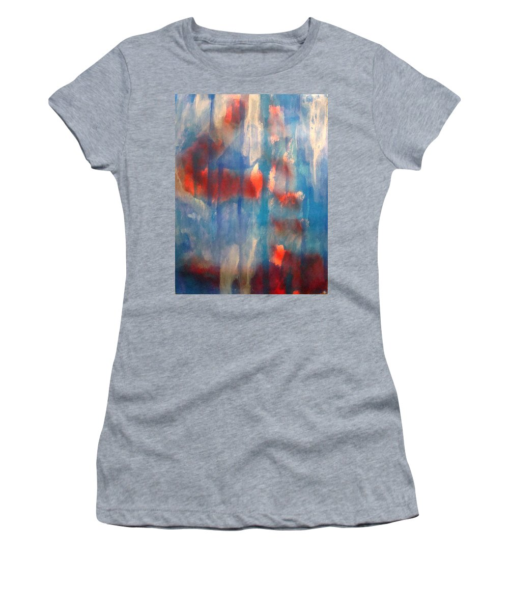 Christian Women's T-Shirt (Athletic Fit) featuring the painting On A Clear Day - Red Forever by W Todd Durrance