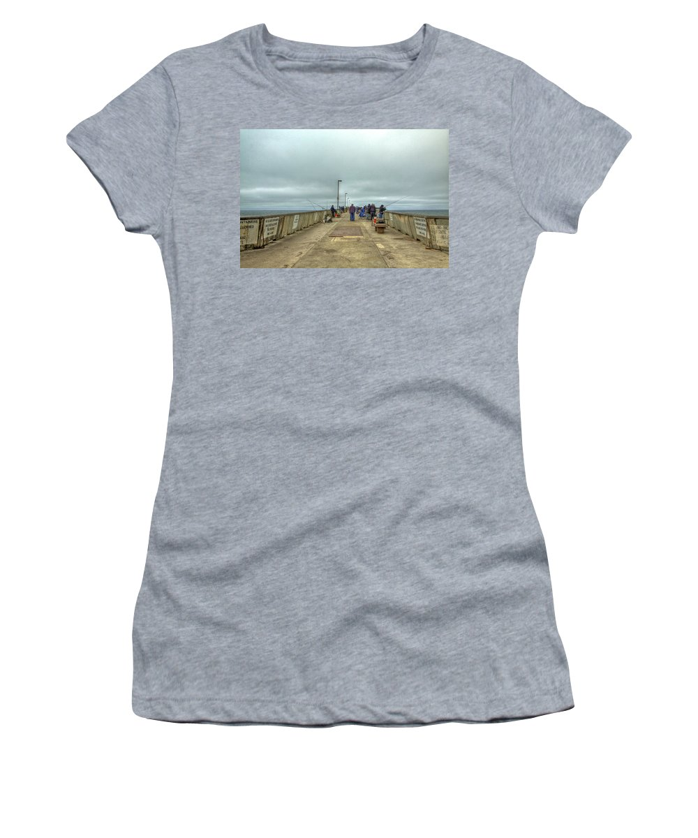 Beach Women's T-Shirt featuring the photograph On The Pier At Pacifica by SC Heffner