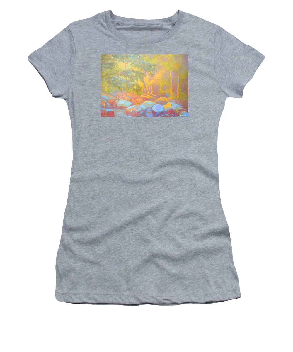 Kendall Kessler Women's T-Shirt (Athletic Fit) featuring the painting On The Way To The Cascades by Kendall Kessler