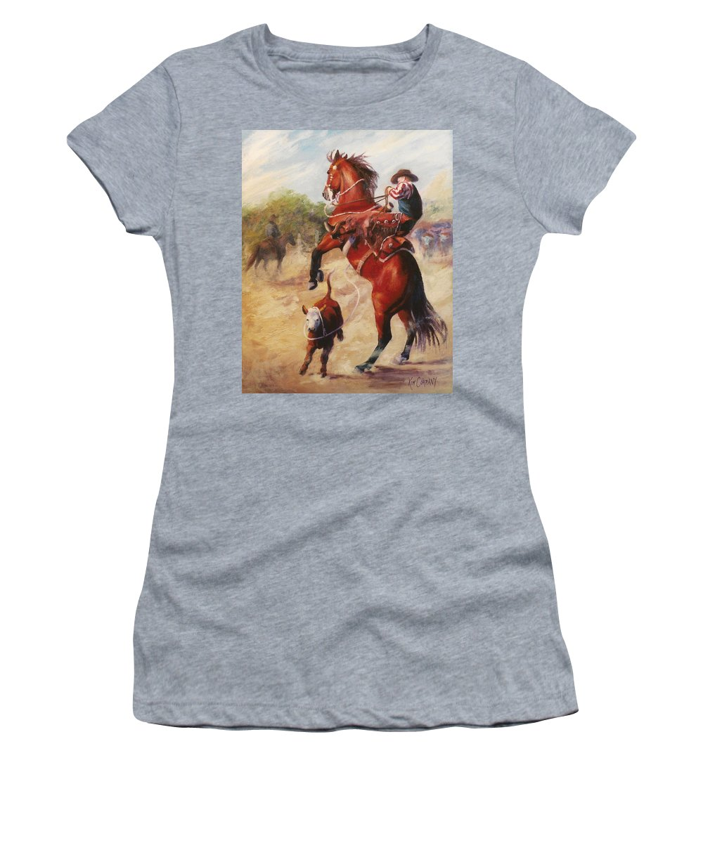 Buckaroo Women's T-Shirt (Athletic Fit) featuring the painting Oops     Buckaroo Western Oil Painting by Kim Corpany