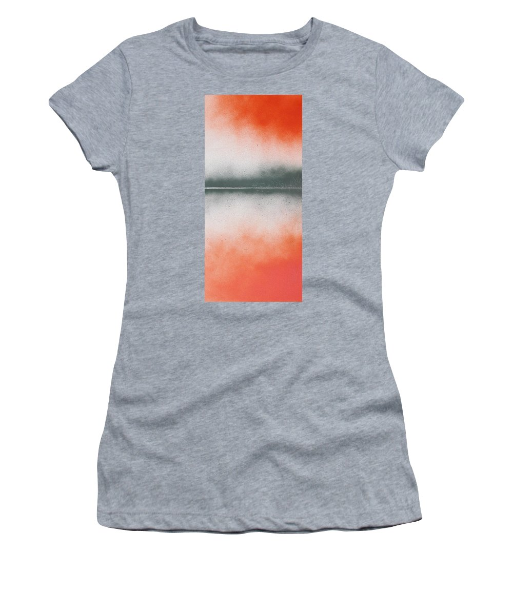 Abstract Women's T-Shirt featuring the painting Orange Lake by Rhodes Rumsey