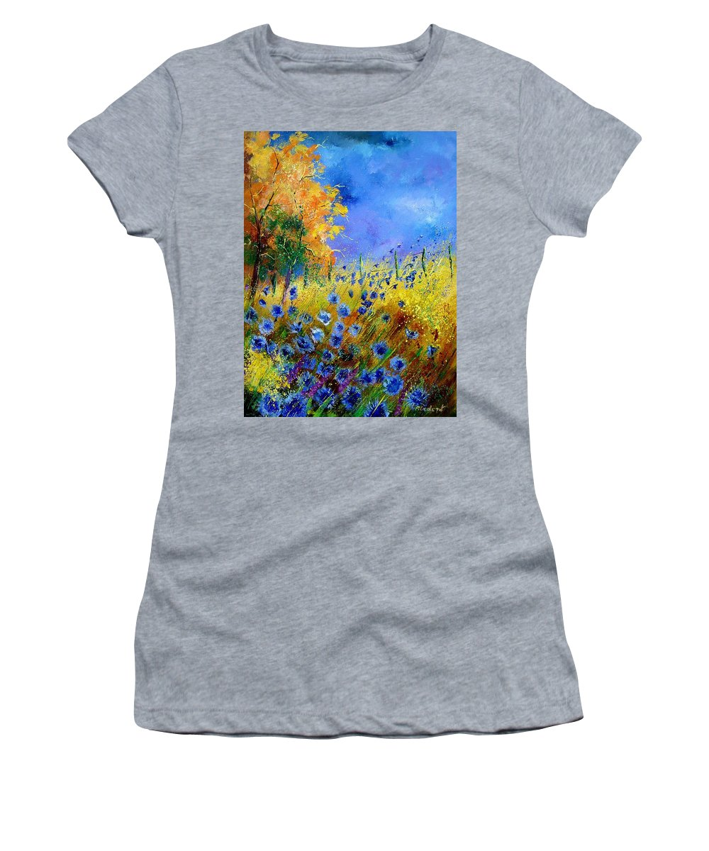 Poppies Women's T-Shirt (Athletic Fit) featuring the painting Orange Tree And Blue Cornflowers by Pol Ledent