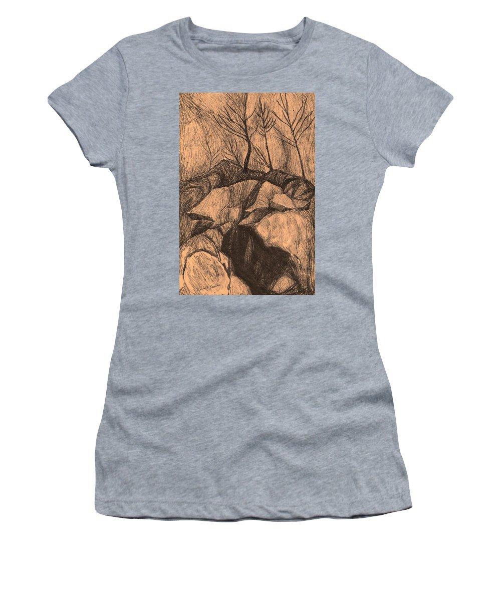 Kendall Kessler Women's T-Shirt featuring the drawing Original Looking Up by Kendall Kessler