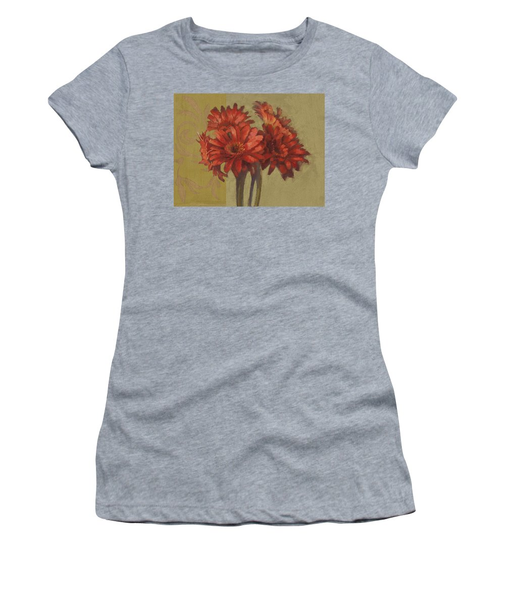 Floral Women's T-Shirt (Athletic Fit) featuring the painting Ornamental Gerbers by Cathy Locke