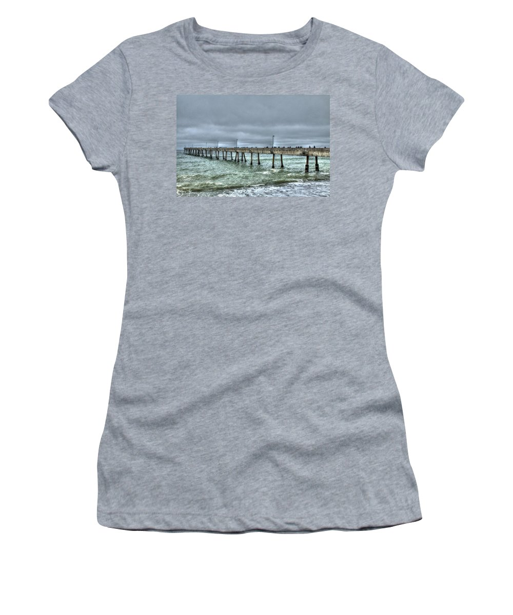 Beach Women's T-Shirt featuring the photograph Pacifica Fishing Pier 7 V2 by SC Heffner