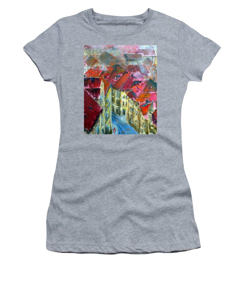 Prague Women's T-Shirt featuring the painting Prague by Uma Krishnamoorthy