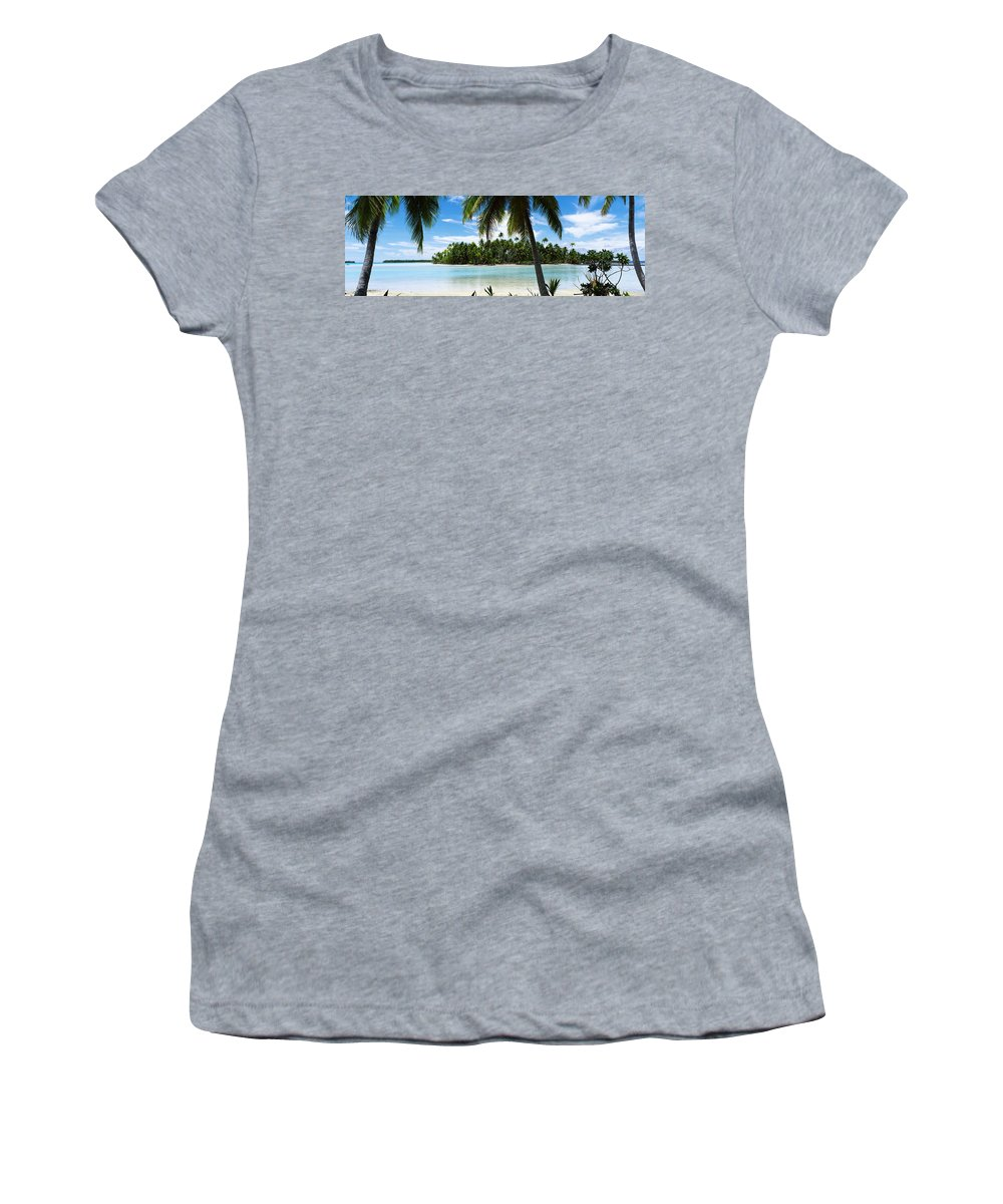 Photography Women's T-Shirt featuring the photograph Palm Trees On The Beach, Rangiroa by Panoramic Images