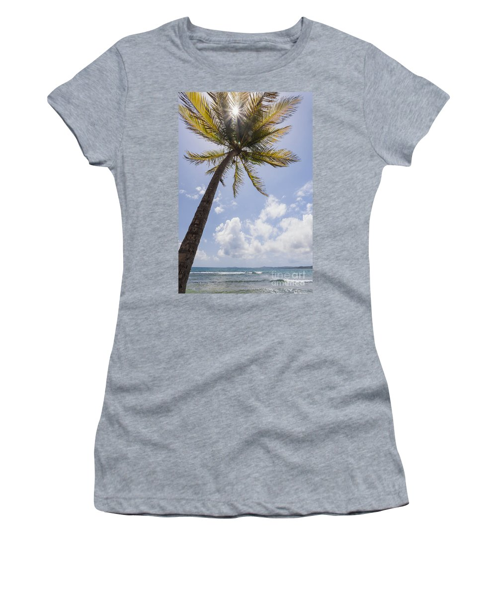 Idyllic Women's T-Shirt featuring the photograph Palms Trees Along Luquillo Beach In Puerto Rico by Bryan Mullennix