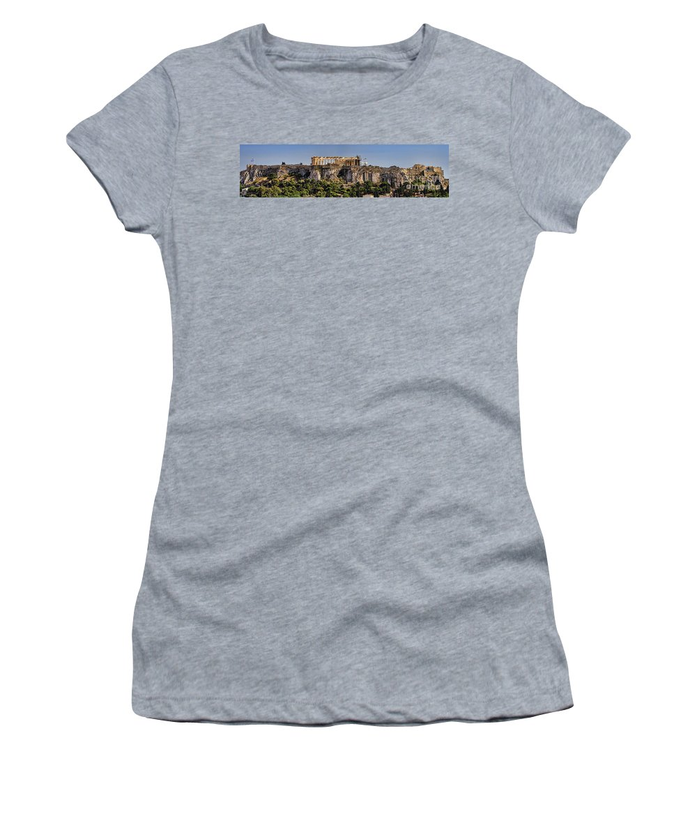 Athens Women's T-Shirt (Athletic Fit) featuring the photograph Panorama Of The Acropolis In Athens by David Smith