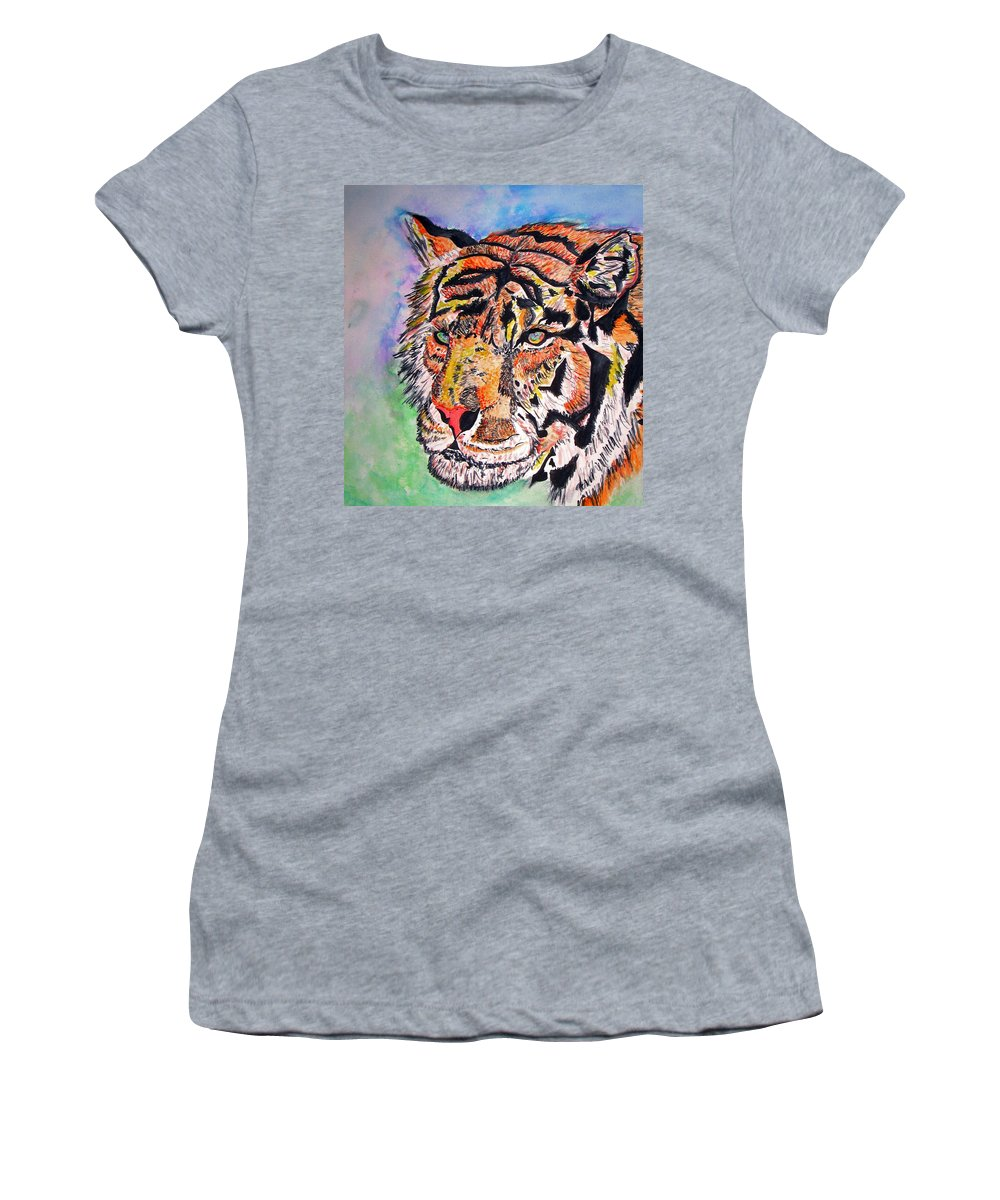 Abstract Women's T-Shirt (Athletic Fit) featuring the painting Paradise Dream by Crystal Hubbard