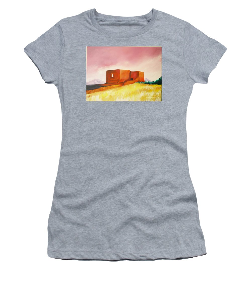 Western Landscapes Women's T-Shirt (Athletic Fit) featuring the painting Pecos Mission Nm by Eric Schiabor