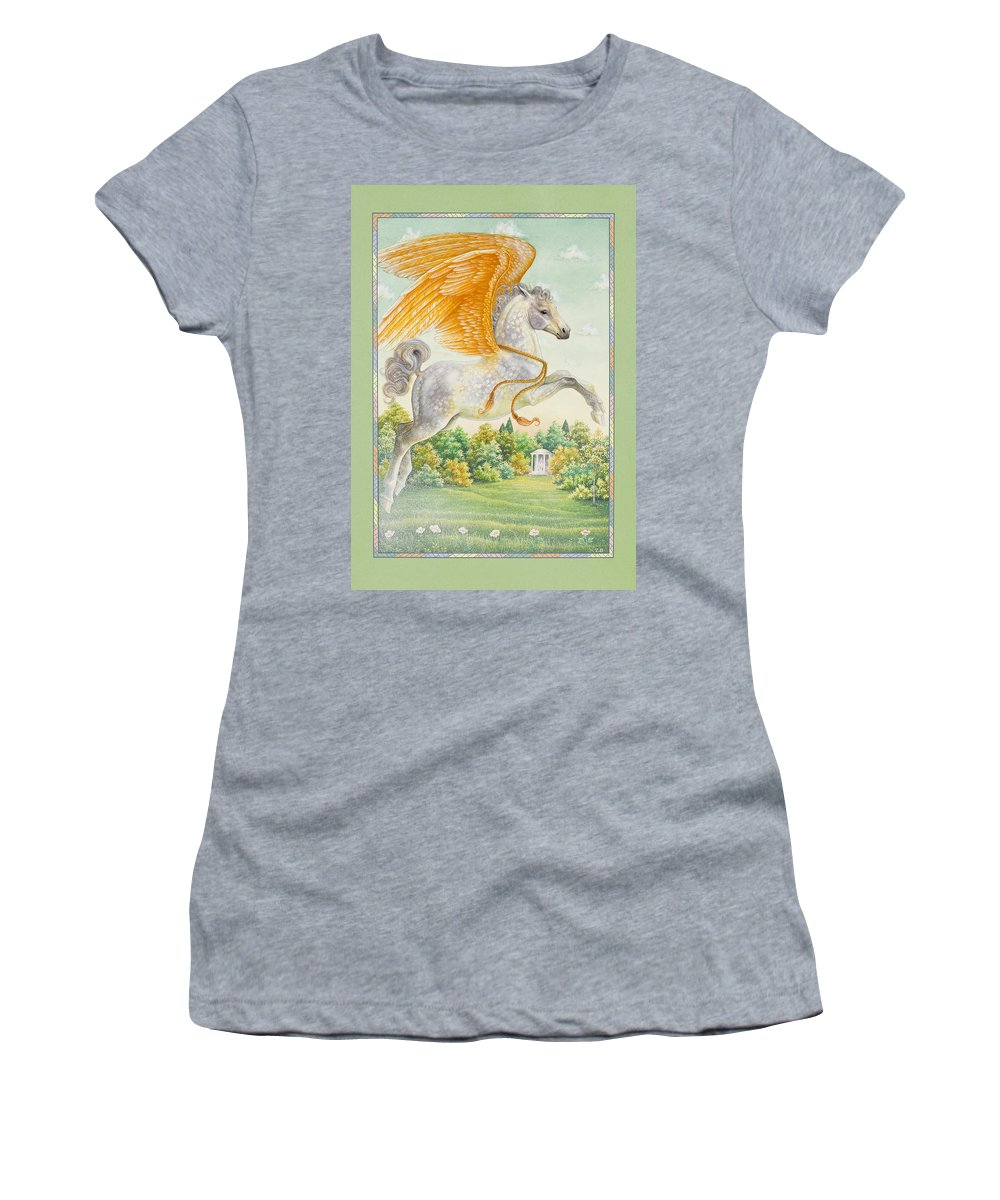 Pegasus Women's T-Shirt featuring the painting Pegasus by Lynn Bywaters