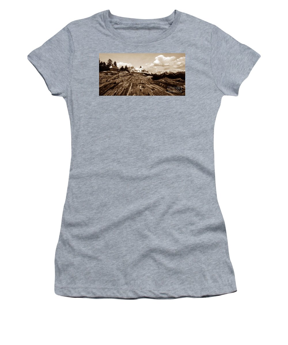 Lighthouses Women's T-Shirt featuring the photograph Pemaquid Point Sepia by Skip Willits