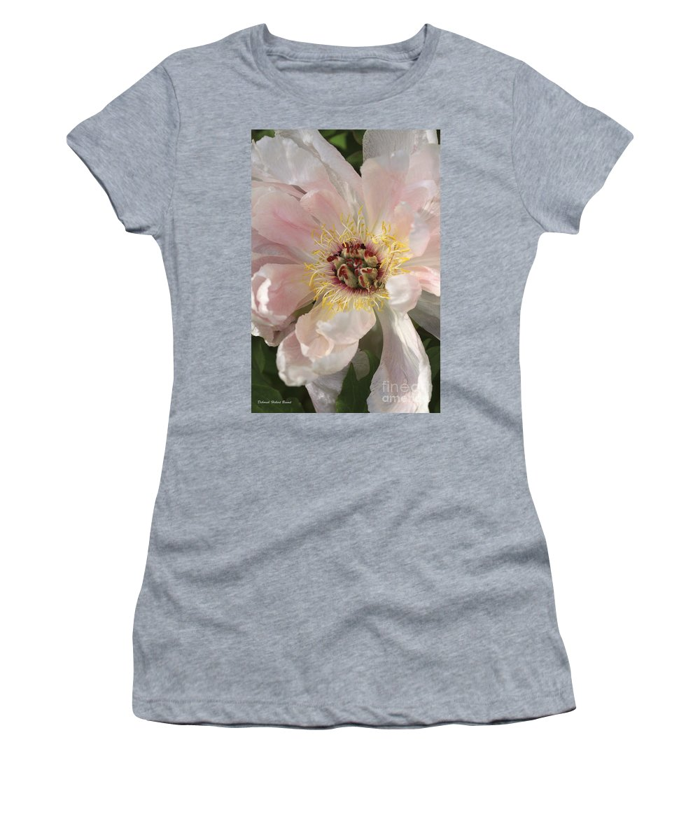 Flower Women's T-Shirt (Athletic Fit) featuring the photograph Peonie In Soft Pink by Deborah Benoit
