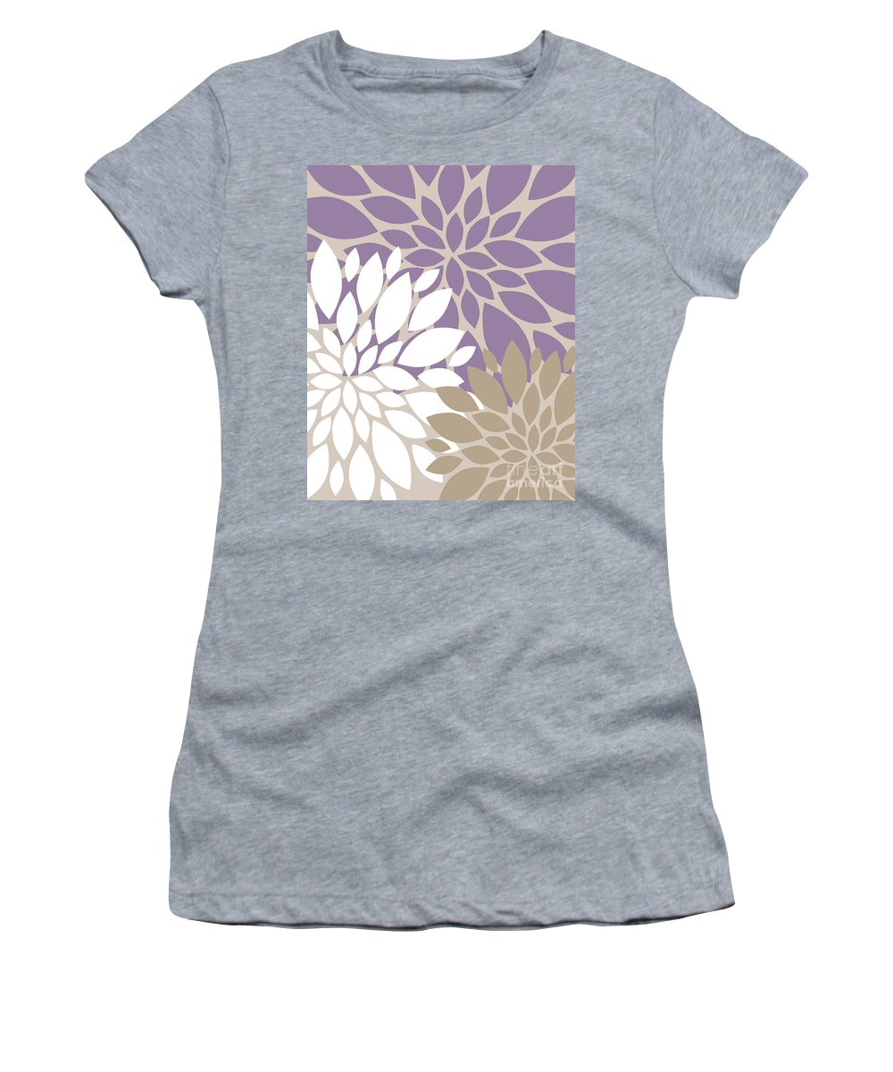 Violet Women's T-Shirt (Athletic Fit) featuring the digital art Peony Flowers by Voros Edit