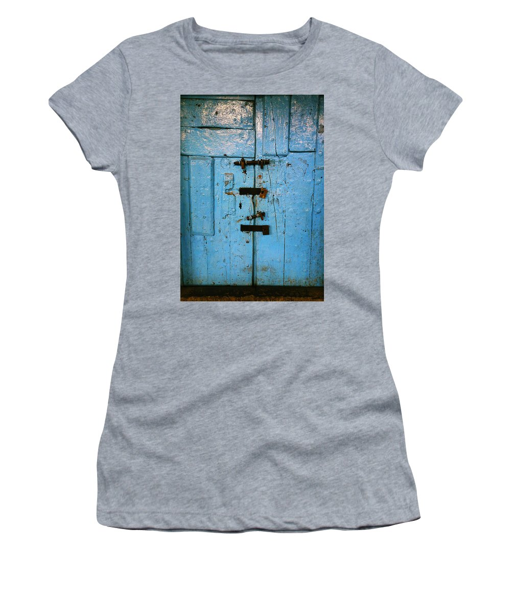 Blue Women's T-Shirt featuring the photograph Peruvian Door Decor 8 by Xueling Zou