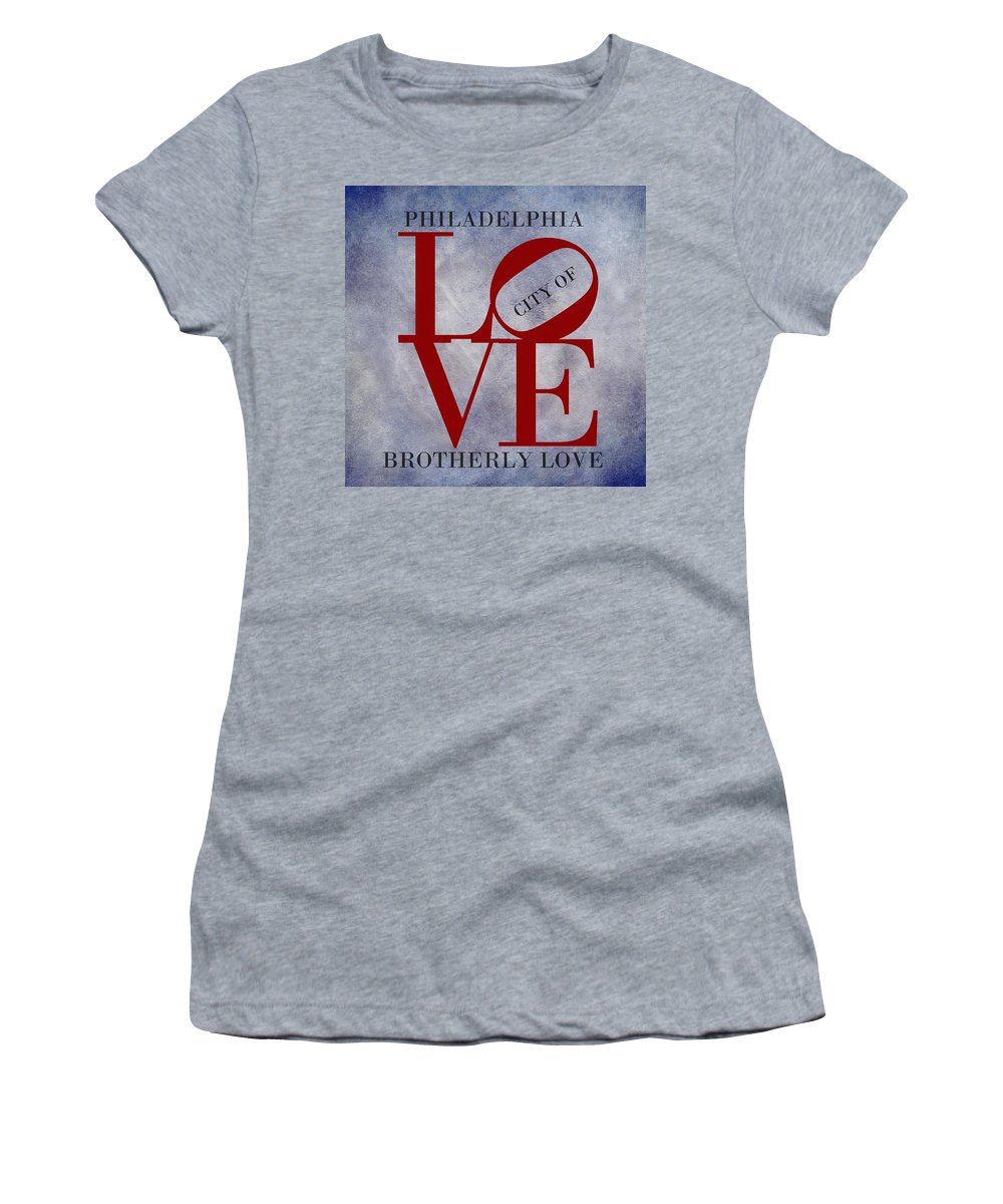 Philadelphia Women's T-Shirt featuring the digital art Philadelphia City Of Brotherly Love by Movie Poster Prints