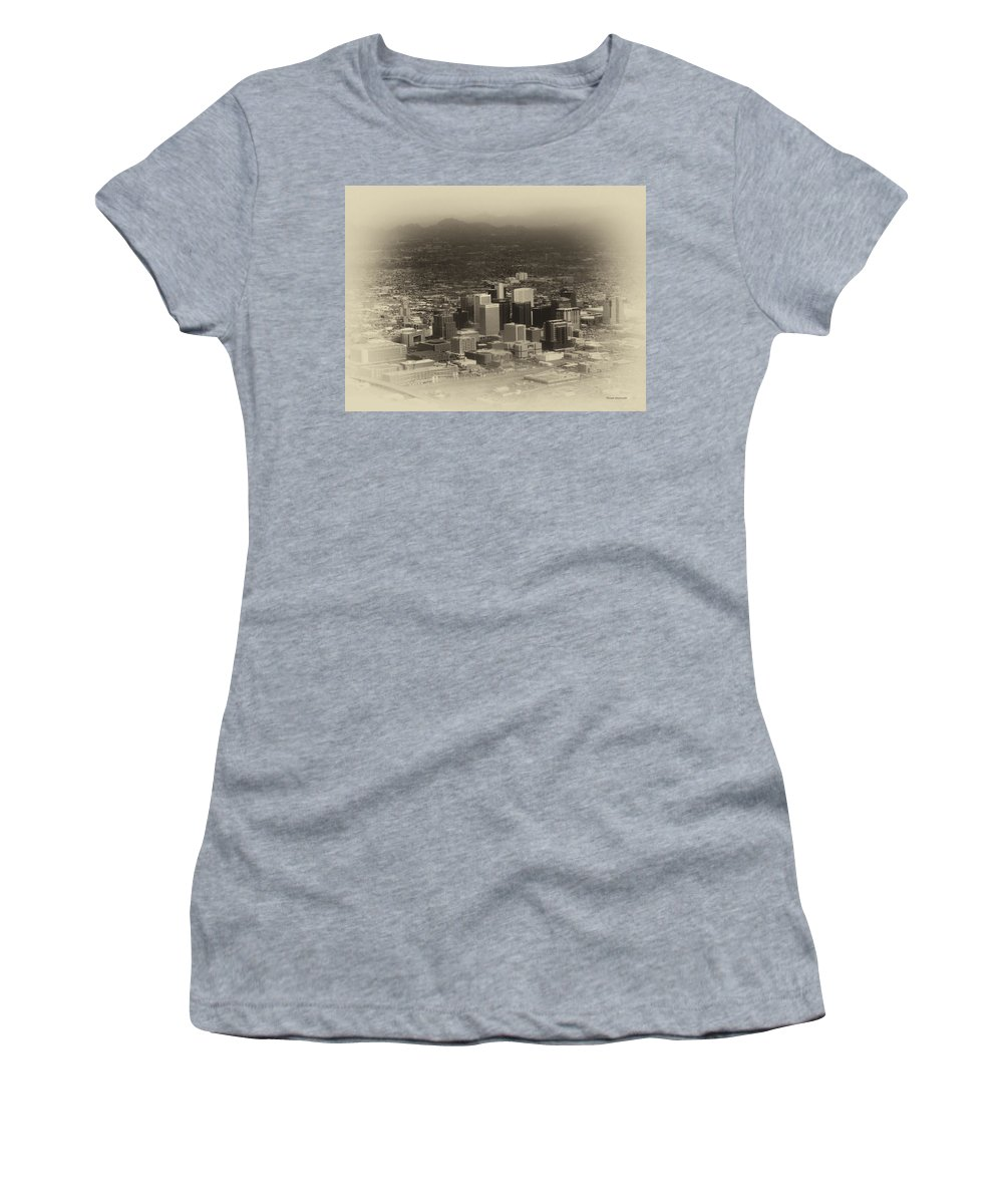 Phoenix Women's T-Shirt (Athletic Fit) featuring the photograph Phoenix Az Downtown 2014 Heirloom by Thomas Woolworth