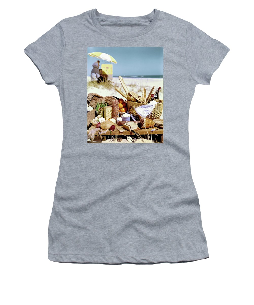Still Life Women's T-Shirt featuring the photograph Picnic Display On The Beach by Stan Young