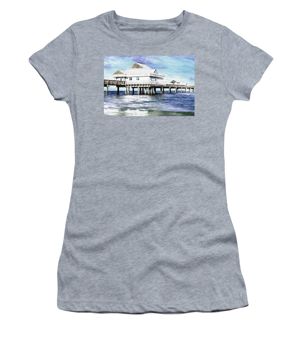 Pier 60 Women's T-Shirt featuring the painting Pier 60 by L Wright
