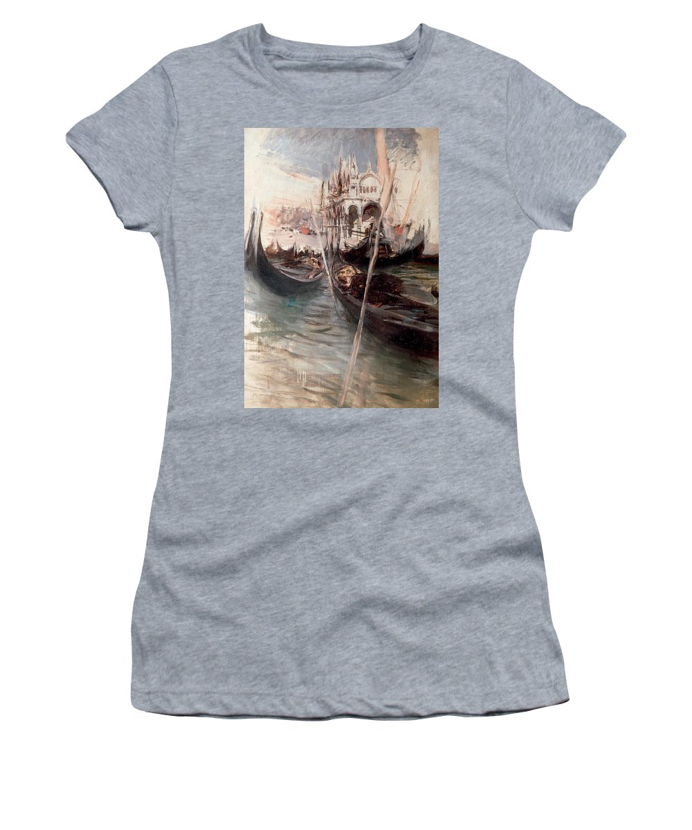 Venice Women's T-Shirt featuring the painting Pier And Saint Marc In Venice by Giovanni Boldini