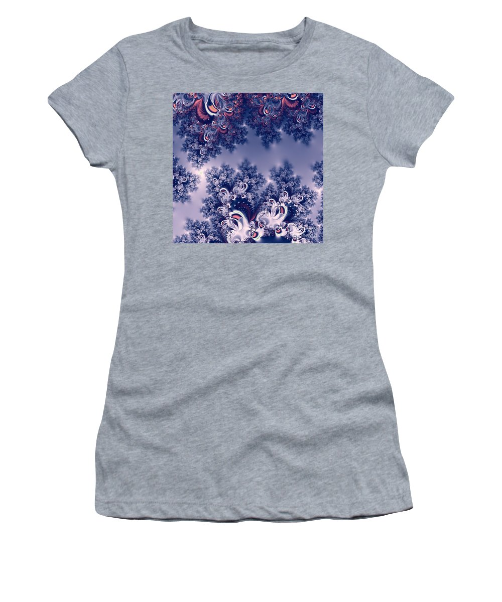 Pink And Blue Morning Frost Fractal Women's T-Shirt featuring the digital art Pink And Blue Morning Frost Fractal by Rose Santuci-Sofranko