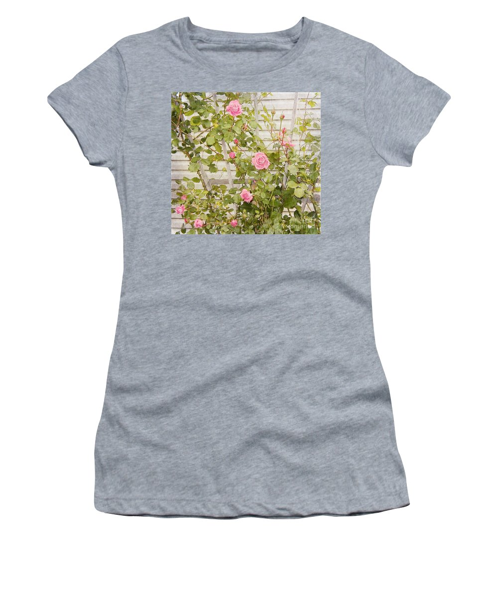 Roses Prints Women's T-Shirt (Athletic Fit) featuring the photograph Pink Roses by Alys Caviness-Gober