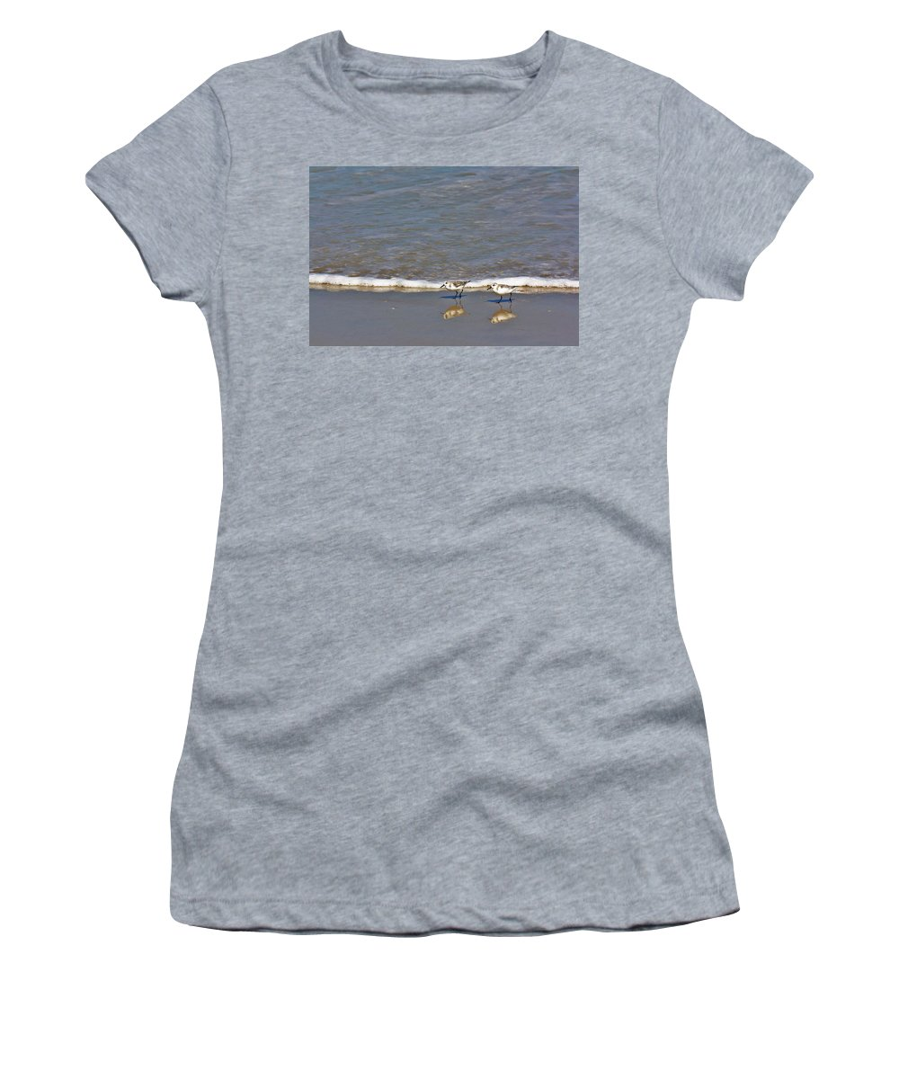 Sandpiper Women's T-Shirt featuring the photograph Pipers by Chuck Hicks