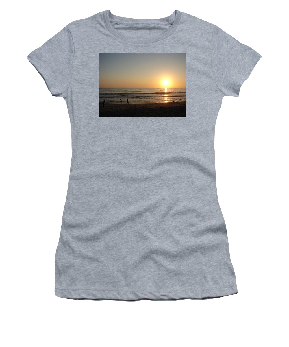 Sunset Women's T-Shirt featuring the photograph Play On California Beach by Keisha Marshall