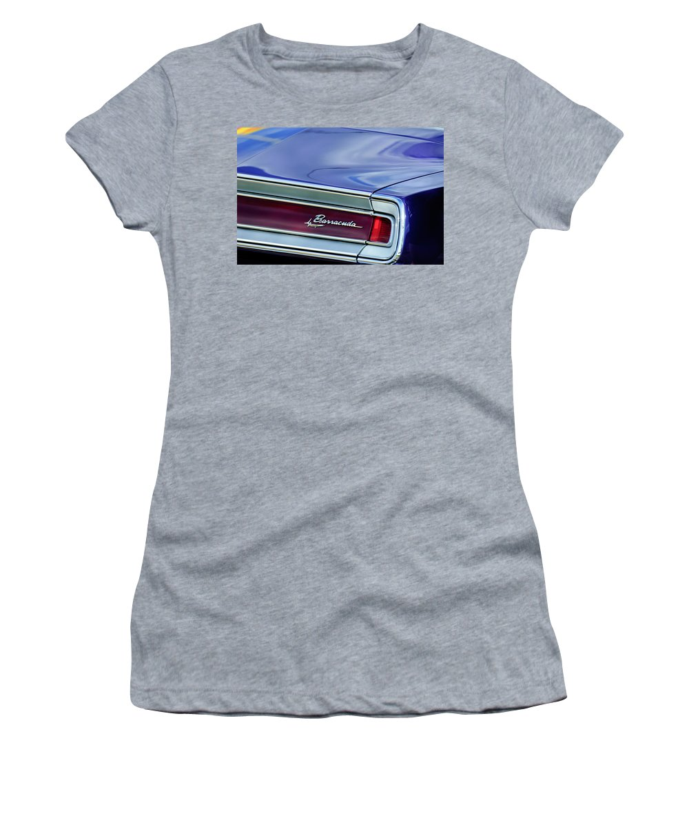 Plymouth Barracuda Taillight Emblem Women's T-Shirt (Athletic Fit) featuring the photograph Plymouth Barracuda Taillight Emblem by Jill Reger