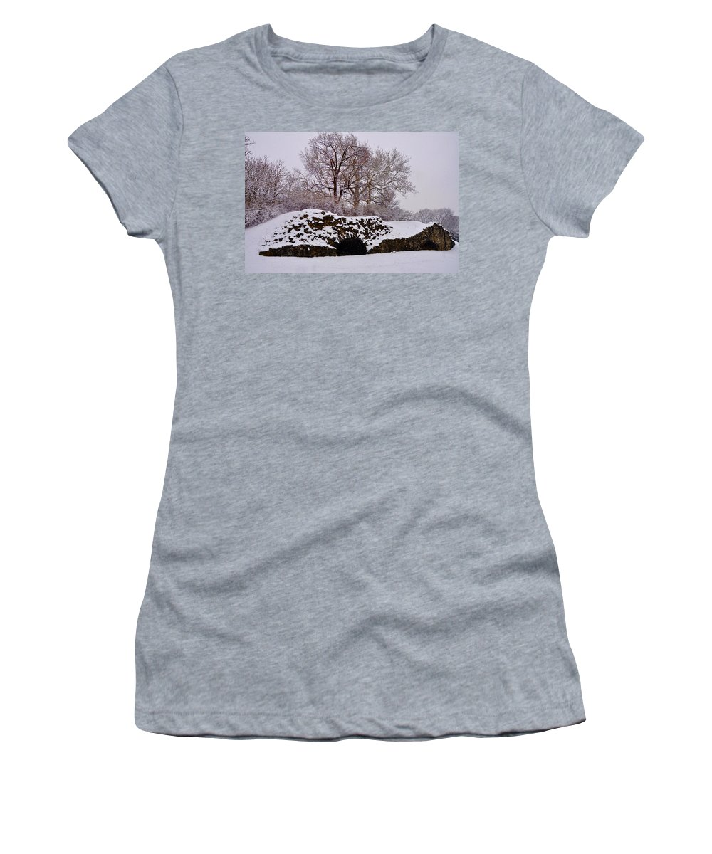 Lime Kilns Women's T-Shirt featuring the photograph Plymouth Meeting Lime Kilns In The Snow by Bill Cannon