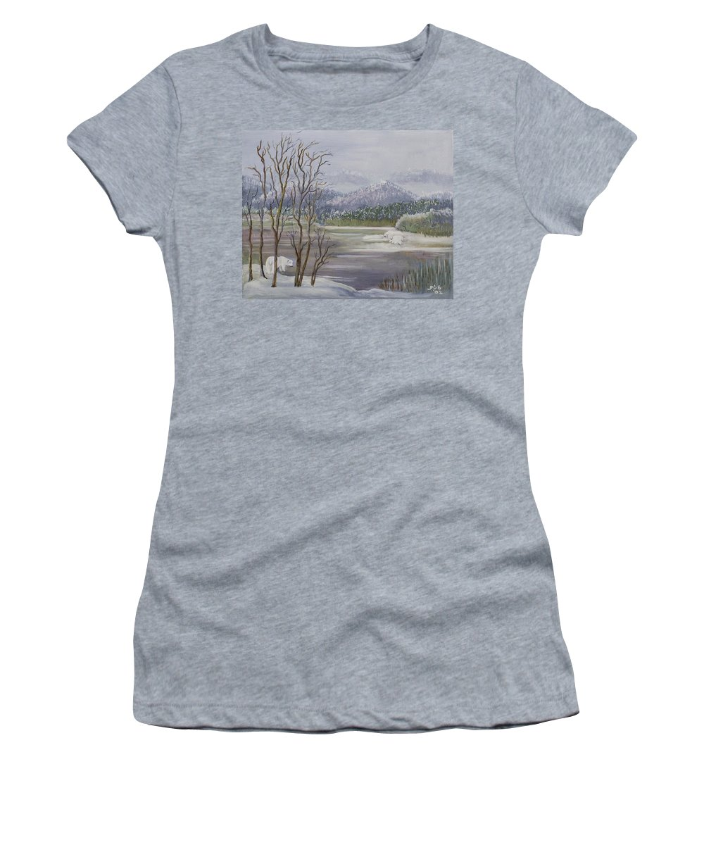 Lavender Women's T-Shirt (Athletic Fit) featuring the painting Polar Bears Crossing by Gladys Berchtold