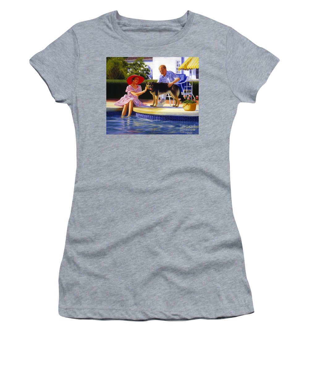 Portrait Women's T-Shirt (Athletic Fit) featuring the painting Poolside Thistle Down by Candace Lovely